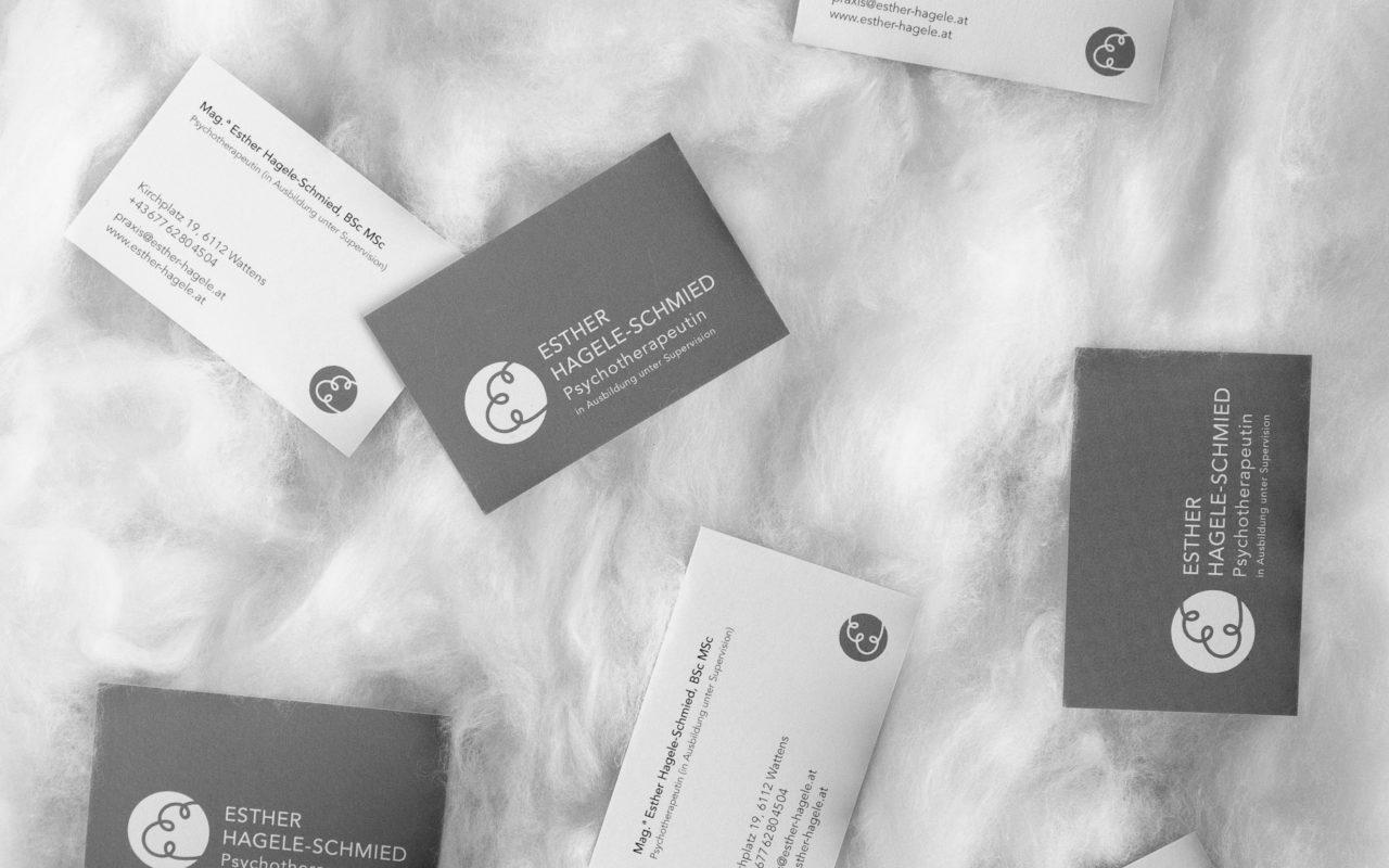 Esther Hagele-Schmied Visitenkarten grau