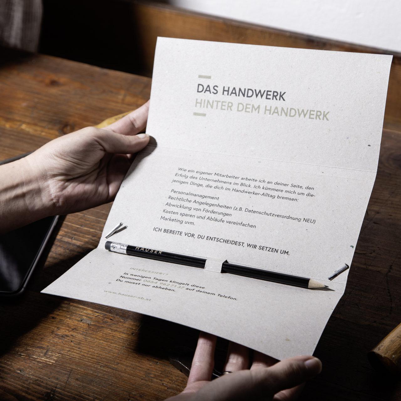 Hauser xb Direct Mailing aufgeklappt