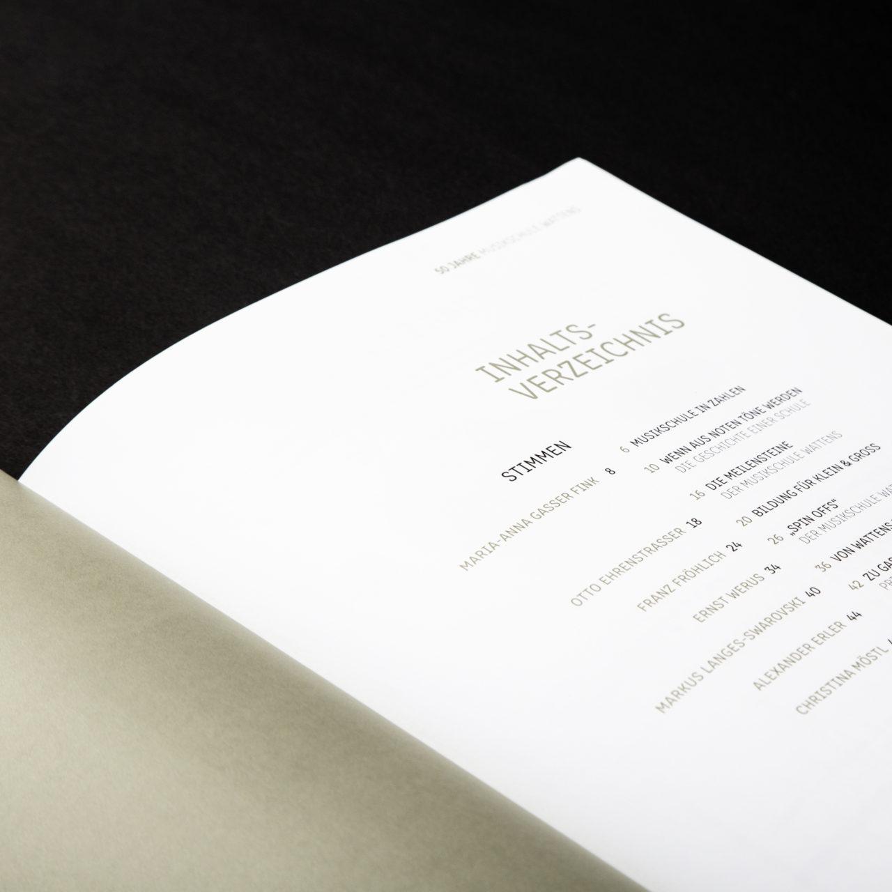 Musikschule Wattens Festschrift Inhaltsverzeichnis