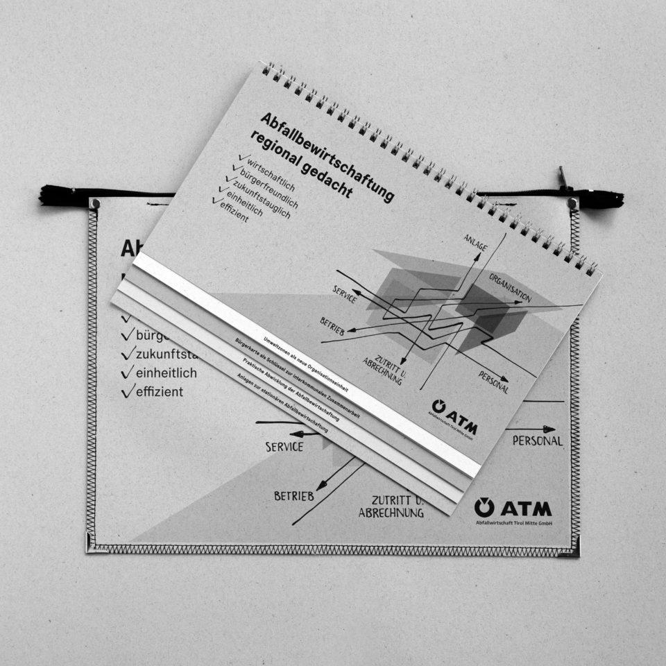 ATM Tasche und Broschüre grau